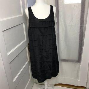 Eileen Fisher Black Sleeveless Ruffle Silk Dress M